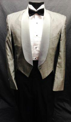 37 L Mens Vintage Silver/Gray Tuxedo Tailcoat Tux Tails Retro Steampunk Dickens
