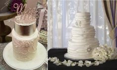 snowflake wedding cakes with snowflake brooches by Sweet Bea's, Bella in Bloom Photography left, Fantasy Frostings right