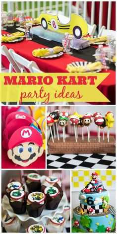 A fun Mario Kart boy birthday party with an awesome cake and party table decorations! See more party planning ideas at CatchMyParty.com!