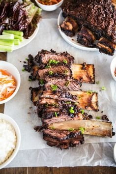 Supremely tender and delicious oven baked Korean BBQ beef ribs They are a crowd pleaser and great to serve on special dinner occasions! Bbq Beef Ribs, Beef Back Ribs, Rib Recipes, Asian Recipes, Cooking Recipes, Family Recipes, Dinner Recipes, Korean Bbq Beef, Korean Food