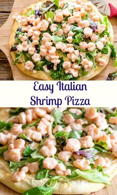 Shrimp Pizza, made the Italian way.  A simple baked crust topped with an easy red sauce, cooked shrimp and salad.  Pizza night never tasted so good. #shrimp #pizza #Italian #shrimppizza #dinner via @https://it.pinterest.com/Italianinkitchn/