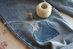 patching holes in my kids' jeans