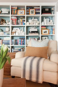 love the wide shelves with blue but loaded with fun stuff in front