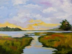 Modern Impressionist Original Sunset Marsh South Carolina Oil Landscape Painting by Rebecca Croft by rebeccacroftstudios on Etsy