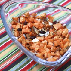 roasted sweet potato salad with toasted pecans and dried cranberries