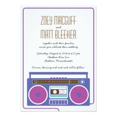 Shop Retro Boombox Indie Mixtape Wedding (Purple/Blue) Invitation created by poptasticbride. Personalize it with photos & text or purchase as is! Creative Wedding Invitations, Wedding Invitation Design, Custom Invitations, Indian Wedding Receptions, Wedding Mandap, Hipster Wedding, Wedding Stage Decorations, Boombox, Purple Wedding