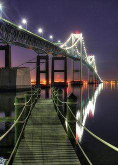 Dock At Dawn - Clairborne Pell Newport Bridge, Rhode Island, USA