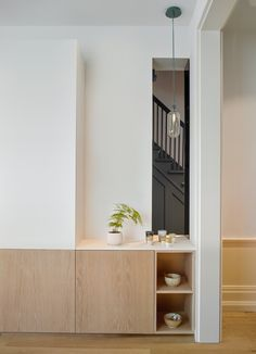 Greenwood Semi is a minimalist home located in Toronto, Canada, designed by Anya Moryoussef Architect. The design ensures fluidity throughout … Minimalist House Design, Minimalist Home Interior, Minimalist Living, Modern Interior Design, Interior Architecture, Interior Sketch, Cafe Interior, Interior Minimalista, Edwardian House