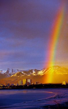 A rainbow over downtown Anchorage, Alaska USA