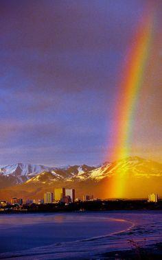 A rainbow over downtown Anchorage, Alaska USA