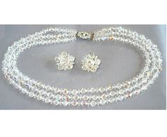 """Vintage AB Crystal & Rhinestone Necklace & Earrings Set ~ """"Made in England"""" by MarlosMarvelousFinds, $45.00"""