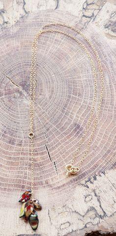 Handmade Enamel Dangle Copper Leaves on Gold by SMSJewelryDesigns, $60.00