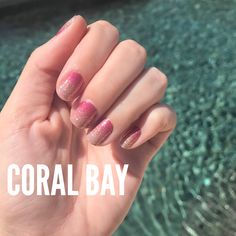 Coral Bay Nail Polish Strips from Color Street. 100% nail polish. Zero dry time. No heat or special tools required. Literally the best manicure ever! #colorstreet #nails #nailpolish #coralbay #colorstreetnailstrips #nailstrips #colorstreetnails #colorstreetstylist