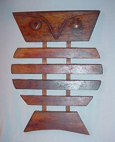 Mid Century Modern Tullio Bottino Hard Wood Owl Trivet Wall Hanging