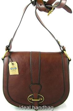 NEW NWT FOSSIL LEATHER VRI VINTAGE REISSUE BROWN SLING MESSENGER CROSSBODY BAG