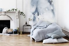 Transform your home space with design risk. Try unique decor trends like watercolor walls, half-painted walls, unfinished wallpaper, wallpapered stairs and diagonal door paint. Broste Copenhagen, Watercolor Walls, Watercolor Wallpaper, Watercolor Artwork, Minimalist Living, Home Living, Living Rooms, Dream Decor, My New Room