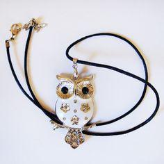 Leder - Halskette mit Eulen - Anhänger