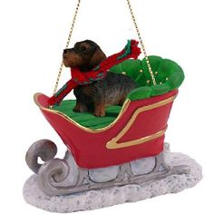 Wire Haired Dachshund Red Sleigh Ride Dog Ornament