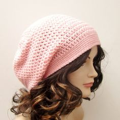 Light Pink Slouch Beanie  Womens Slouchy by ColorMyWorldCrochet