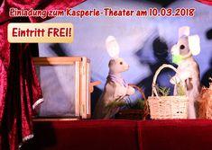 """Einladung zum Kasperle-Theater am Samstag, dem 10.03.2018  Am Samstag, dem 10.03.2018 ist es wieder soweit. Violettas mobile Puppenbühne ist wieder bei uns und zeigt diesmal das Puppen-Theater-Stück """"Das Ostergeschenk der Prinzessin"""". Vorstellungen sind jeweils um 10.00, 12.00 und 14.00 Uhr. Und der Eintritt ist frei. Die Dauer einer Vorstellung ist etwa 35 Minuten. www.gongoll.com"""