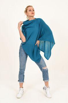 Poncho - Dress Topper - Deep Turquoise - Jennigraf e.U. Poncho Dress, Pashmina Wrap, Cashmere Poncho, Chunky Scarves, Summer Evening, Autumn Day, Deep, Turquoise, Classic