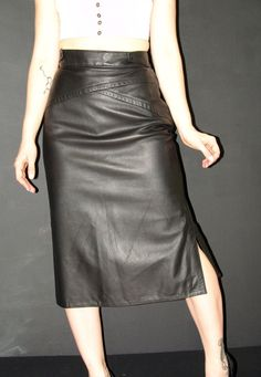 Vintage Long Black Leather SKIRT Walter country by YBretro on Etsy, $69.00