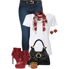 """* Scarf & Tee Casual *"" by hrfost1210 on Polyvore"
