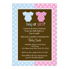 Gender Reveal Party Baby Shower Invitations.  $2.10