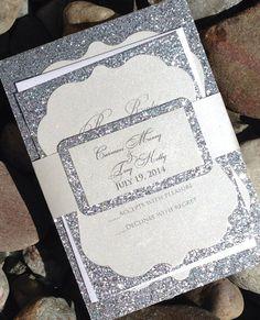 Glitter Wedding Invitation Glitter Bridal by SoireeCustomPaperCo