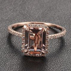 9x7mm Morganite Emerald Cut and Diamonds 14k Rose White Or Yellow Gold Engagement Wedding Ring. $875.00, via Etsy.