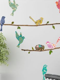 COLOR & IMAGES ~~ This would also be great for a kid's room with the different colors and patterns.  ~~ Paisley Birds & Branches Wall Decals (12 PC) by Walls Need Love at Gilt