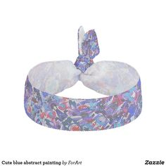 Cute blue abstract painting elastic hair tie
