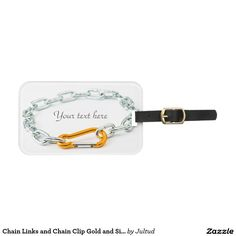 Chain Links and Chain Clip Gold and Silver Colors Luggage Tag.