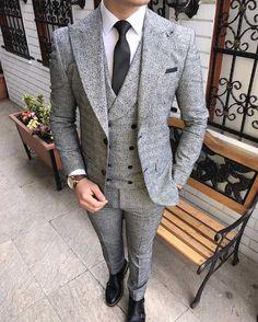 Terziademaltun - İtalyan stil slim fit erkek ceket yelek pantolon takım elbise T1984 (1)