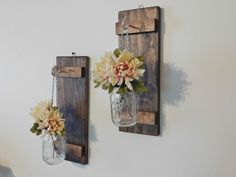 Rustic Farmhouse Hanging Mason Jar Wall Sconce Set