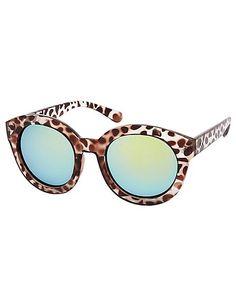 Leopard Print Round Sunglasses
