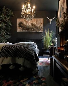 Bedroom Interior Design Black - Bedroom : Home Decorating Ideas Bedroom Interior, Black Bedroom Decor, Home Decor, Apartment Decor, Eclectic Bedroom Design, Eclectic Decor Bedroom, Eclectic Bedroom, Interior Design, Interior Design Bedroom