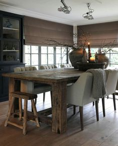 Stylish Interior With Rustic Dining Table Upholstered Tufted Chairs Stool Large Bowl And Urns Modern E