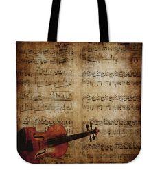 Printed Tote Bags, Cotton Tote Bags, Reusable Tote Bags, Gift For Music Lover, Music Lovers, Music Shoes, Violin, Bag Making, Sheet Music