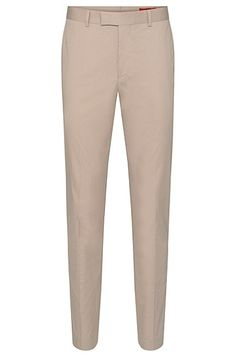 These HUGO trousers with pressed creases have their emphatically narrow fit to thank for their ultra-modern look. The typical chino pocket arrangement makes an appropriate finish to the design. These men's trousers guarantee exceptional comfort thanks to their very lightweight stretch cotton. They are just made for understated office outfits.