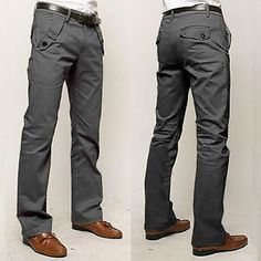 Mens Tomboy Casual Slim Fit Straight Leg Long Pants Office Business Trousers