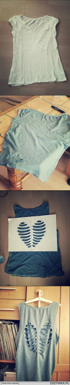 diy cut workout shirt. I think it would be cool to just bleach the spots, instead of cutting it.