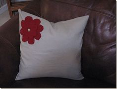 Felted wool and linen pillow