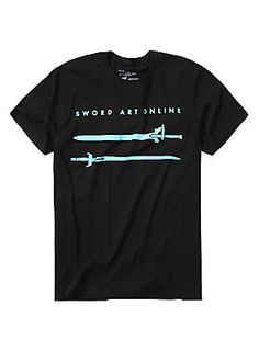 "Black T-shirt from <i>Sword Art Online</i> featuring a turquoise design of Kirito & Asuna's swords, Elucidator & Lambent Light, on front.<br><ul><li style=""LIST-STYLE-POSITION: outside !important; LIST-STYLE-TYPE: disc !important"">100% cotton</li><li style=""LIST-STYLE-POSITION: outside !important; LIST-STYLE-TYPE: disc !important"">Wash cold; dry low</li><li style=""LIST-STYLE-POSITION: outside !important; LIST-STYLE-TYPE: disc !important"">Imported</li><li style=""LIST-STYLE-POSITION: outsi"
