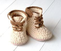 CROCHET PATTERN for perfect winter Booties for Baby Boys - Timberland style workboots by matildasmeadow