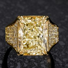 Treat yourself to this irresistibly stunning Natural Fancy yellow color Diamond 18K Gold Large Cocktail Engagement Ring! This ring is crafted in 18 karat yellow gold . Yellow Diamond Engagement Ring, Antique Engagement Rings, Right Hand Rings, Colored Diamonds, 18k Gold, Gold Rings, Cocktail, Fancy, Gemstones