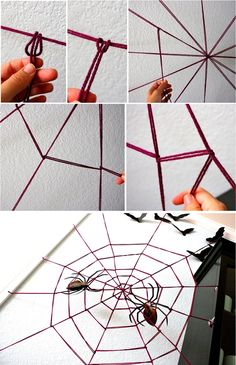 51 Cheap & Easy To Make DIY Halloween Decorations Ideas Creating the DIY yarn spider web The post 51 Cheap & Easy To Make DIY Halloween Decorations Ideas appeared first on Halloween Decorations. Creating the DIY yarn spider web Dollar Store Halloween, Halloween Home Decor, Halloween Party Decor, Halloween Kostüm, Holidays Halloween, Helloween Party, Diy Halloween Dekoration, Halloween Spider Decorations, Easy Decorations