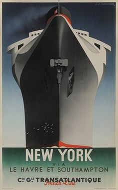 The SS Normandie ocean liner, built in Saint-Nazaire in was the largest, fastest ship of her time. Artist Adolphe Cassandre's poster, which mirrors the Art Deco style of the Normandie's interior, shows the ship's massive bow head-on. Vintage French Posters, Art Vintage, Vintage Films, Vintage Travel Posters, Vintage Ads, Southampton, Ss Normandie, Metro Paris, Art Nouveau