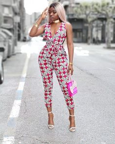 VAZN Hot Fashion Elegant Style 2018 Sexy Style Women Jumpsuit Print V-Neck Sleeveless Backless Bodycon Romper - April 13 2019 at African Print Jumpsuit, African Print Dresses, African Fashion Dresses, African Dress, Fashion Outfits, Ankara Jumpsuit, Nigerian Fashion, Backless Jumpsuit, Black Jumpsuit