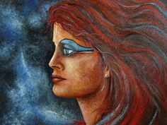 """""""Red woman"""" : Oil on canvas by Marc Haumont - 46x55 cm - """"Woman in Red"""" #portrait #oil #painting"""